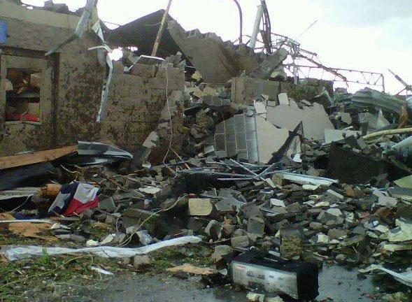Entire building reduced to a large pile of rubble during the tornado.